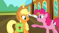 Pinkie Pie talking to Applejack S2E14