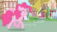 Pinkie trotting towards Twilight and Spike S1E01