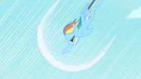 Rainbow Dash's first attempt at sonic rainboom S1E16