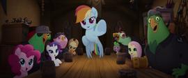 Rainbow Dash points her hoof at Celaeno MLPTM