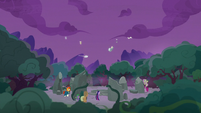 Pillars of Old Equestria's artifacts fall out of the sky S7E25
