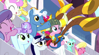 Pinkie Pie appears in the derby crowd S8E18
