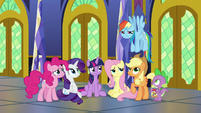 Rainbow Dash's friends smile at her S9E26
