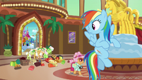 Rainbow looking back at the Gold Horseshoe Gals S8E5