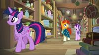 Twilight, Starlight, and Sunburst explore the antique shop S7E24