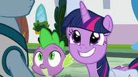 Twilight grins excitedly at Meathead Pony S9E5