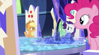 Applejack, Rarity, and Pinkie looking confused S7E25