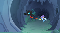 Changeling tries to fly after Starlight and Thorax S6E26