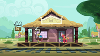 Discord, Spike, and Big Mac at the train station S6E17