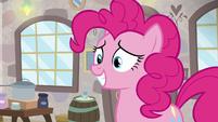 Pinkie Pie grinning at Mudbriar S8E3