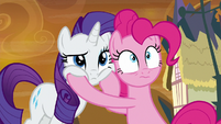 Pinkie points Rarity's face at the Everfree S9E2