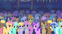 Ponies stare at the Cutie Mark Crusaders S01E18