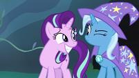 Starlight Glimmer grins pleadingly at Trixie S7E17