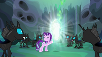 Starlight carefully touching Thorax's cocoon S6E26