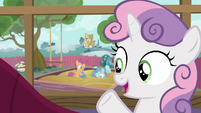 "Sweetie Belle ""Scootaloo's keeping Petunia busy"" S6E19"
