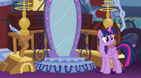 Twilight smiling in front of the new Crystal Mirror EG2