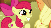 Apple Bloom grins with more excitement S9E10