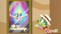 Barker pony promoting trapeze act S6E20