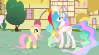 Princess Celestia shows Philomena to Fluttershy S01E22