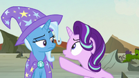 Starlight pointing an accusing hoof at Trixie S7E17