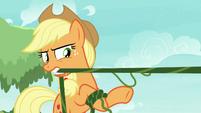 Applejack pulling her vines taut S8E9