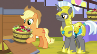 Applejack unloading a bucket of apples S9E24