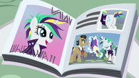 Magazine photo of Rarity helping Filthy Rich S7E19