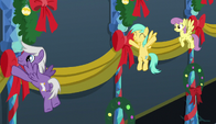 Pegasi hanging banners on the wall S6E8