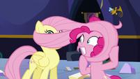 Pinkie wraps Fluttershy's mane around her head S5E11