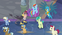 Ponies and griffons listening to Twilight S8E1