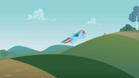 Rainbow Dash flying towards Scootaloo S2E08