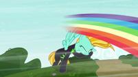Rainbow blur speeds past Lightning Dust S8E20