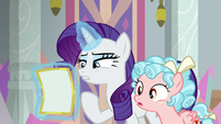 Rarity and Cozy Glow reading the flyer S8E16