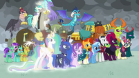 Starlight, Celestia, Luna, and Discord appear S9E25
