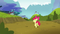 Apple Bloom trots happily back to Ponyville S5E4