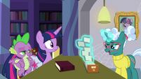 Librarian Pony looks through card catalog S9E5