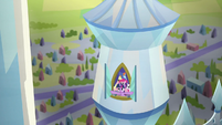 Mane Six and Spike look out castle window S9E25