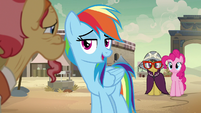 Rainbow Dash asks merchant about Daring Do S7E18