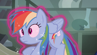 Rainbow Dash being lifted with magic S4E04