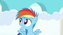 Filly Rainbow Dash awaiting for the race results S7E7