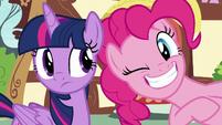 Pinkie Pie winking at Twilight Sparkle S8E20