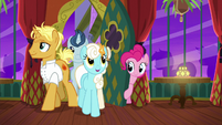 Pinkie letting ponies inside The Tasty Treat S6E12