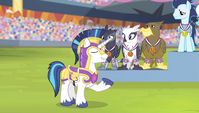 Shining Armor announcing the anthem S4E24