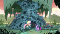 Twilight and Fluttershy in front of Meadowbrook's house S7E20