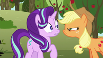 Applejack scowling in Starlight's face S6E6