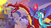 Ember and dragons roaring happily S9E26