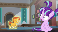 Filly Starlight sees Sunburst go back down on the floor S5E26