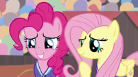 Pinkie Pie and Fluttershy looking nervous S9E6