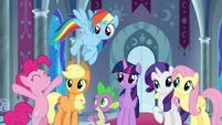 Pinkie Pie cheering next to her friends S9E1