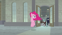 Pinkie Pie leaving Cheese's factory S9E14